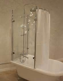acrylic clawfoot tub with glass shower enclosure