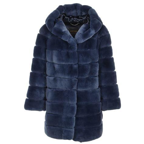 Rex Coat hooded rex rabbit fur coat blue pandora
