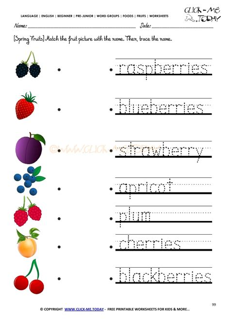 printable worksheets for junior kindergarten fruits worksheet 99 trace spring fruits worksheet