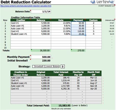 Snowball Calculator Spreadsheet debt snowball worksheet debt images frompo