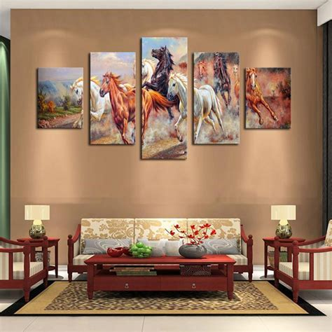 artwork for room unframed 5 panels canvas print painting modern running canvas wall for wall decor home
