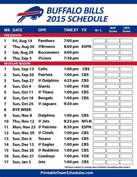 printable nfl schedule with channels 17 best ideas about buffalo bills football schedule on
