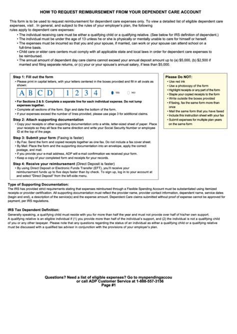 Fillable Dependent Care Fsa Claim Form Reimbursement Form 2017 Printable Pdf Download Fsa Plan Document Template