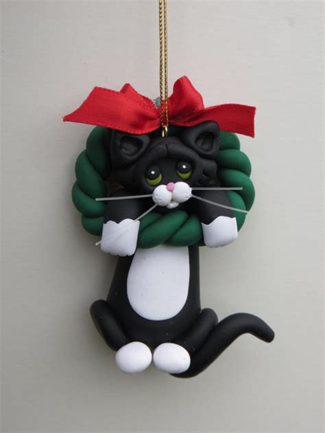 black tuxedo cat christmas ornament polymer clay cute