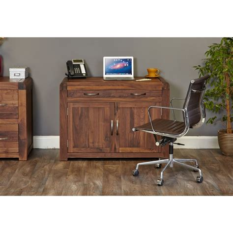 Concealed Computer Desk Inca Solid Walnut Furniture Home Office Computer Pc Hideaway Desk Ebay