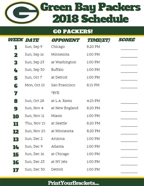 Printable Schedule For Green Bay Packers | printable green bay packers schedule 2018 season