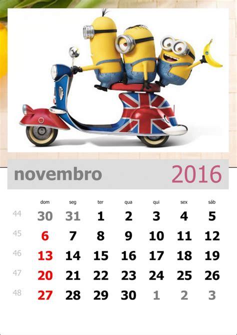 Calendã Novembro 2016 Calend 225 Dos Minions M 234 S De Novembro De 2016