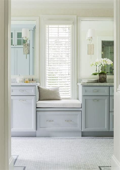 built in bathroom vanities window seat between washstands transitional bathroom