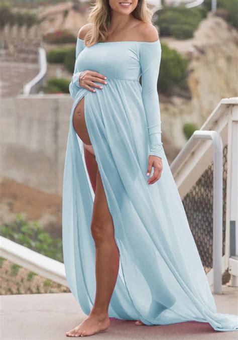 light blue maternity maxi dress light blue grenadine shoulder backless slit maternity