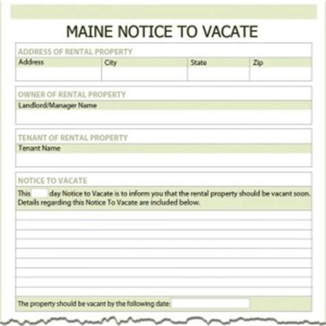 Maine Notice To Vacate Form Maine Will Template
