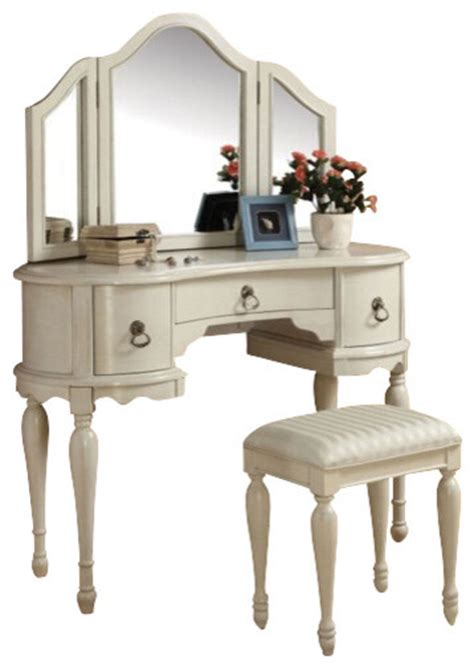 white vanity set for bedroom trini 3 piece off white finish wood make up dressing table