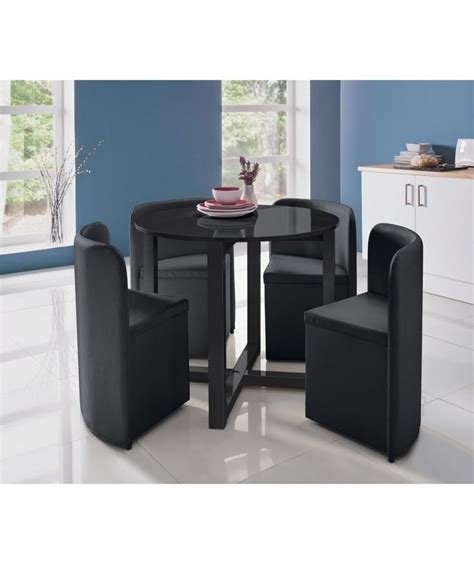 Space Saver Dining Set Table Four Chairs Buy Hygena Black Gloss Space Saver Table And 4 Chairs At Argos Co Uk Your Shop For