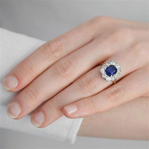 Blue Sapphire Safir 3 2ct 2 2 ct cushion blue sapphire princess diana engagement