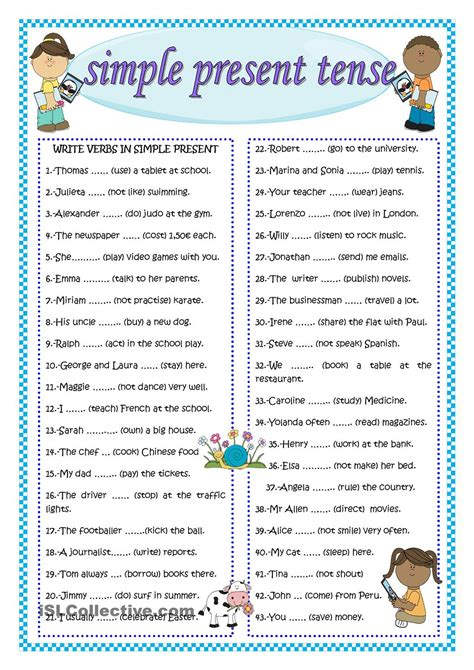 Simple Present Tense Worksheets by Simple Present Tense For