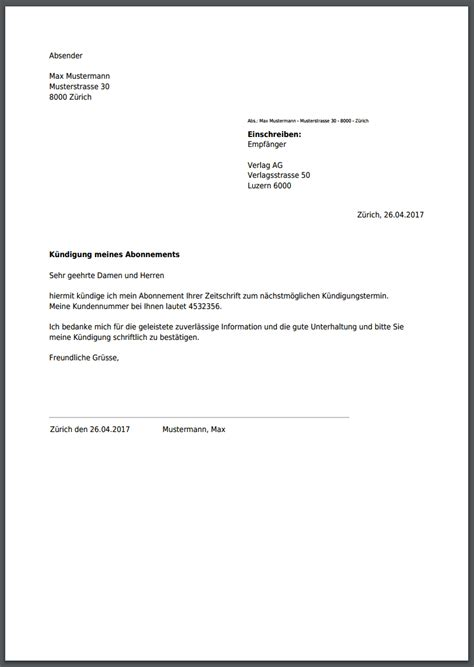 Vorlage Kündigung Abo Englisch k 252 ndigung f 252 r zeitschrift zeitungsabo kostenlos als pdf