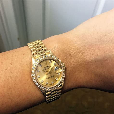 golden with diamonds rolex 69178 datejust 18k yellow gold