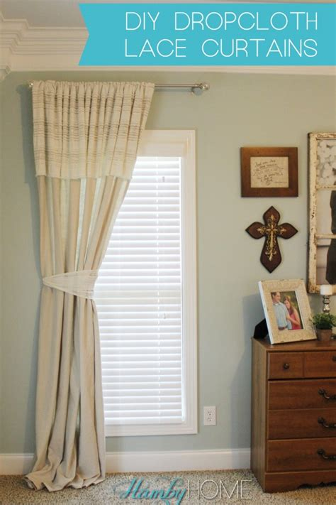 diy drop cloth curtains diy dropcloth and lace no sew curtains