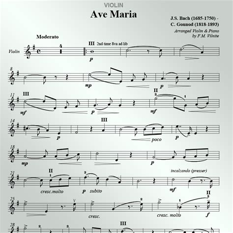 bach gounod ave marig ave by bach gounod sheet for violin and piano