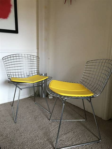 harry bertoia chair pads knoll bertoia side chairs with yellow vinyl seat pad the