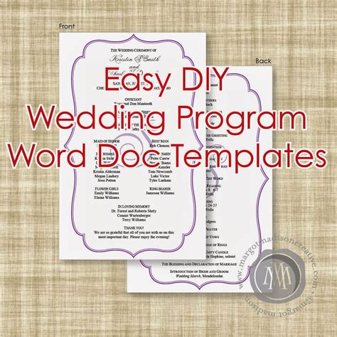 free diy wedding programs templates margotmadison diy wedding program word doc templates now