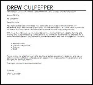 Carpenter Apprentice Cover Letter by Carpenter Cover Letter Sle Livecareer