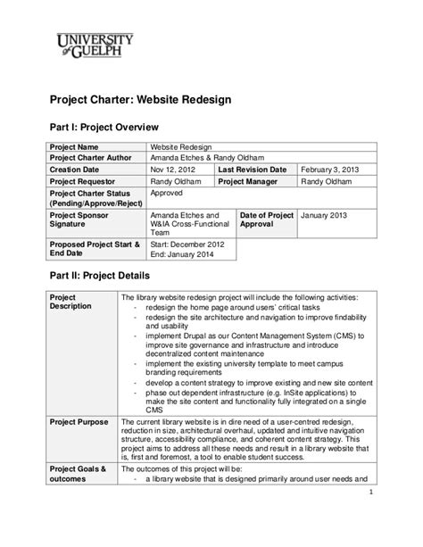 2013 Website Redesign Project Charter Final Project Charter Exles