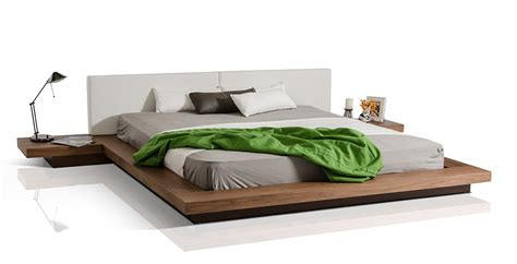 low platform bed modrest opal modern low profile walnut platform bed