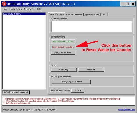 reset key l1300 waste ink counters solution reset to zero
