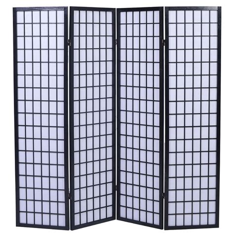 Japanese Room Divider 4 Panel Room Divider Screen Japanese Style Shoji Solid Wood Black New In Screens Room