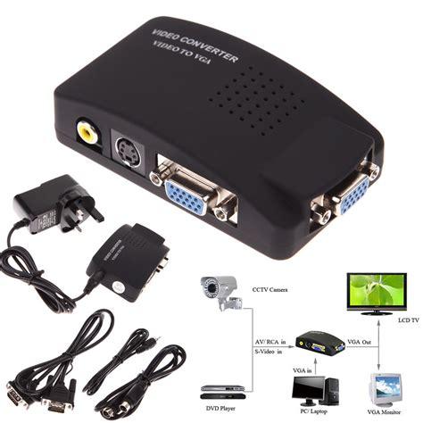 Monitor Vga av rca composite s input to vga output monitor converter adapter cctv dvd ebay