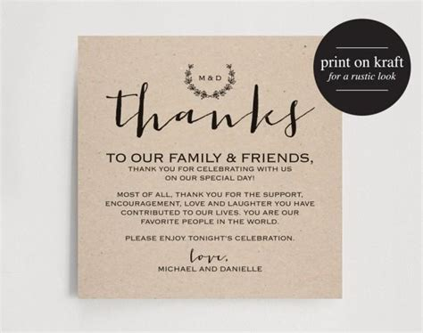 wedding thank you card message template vintage wedding thank you card table thank you card