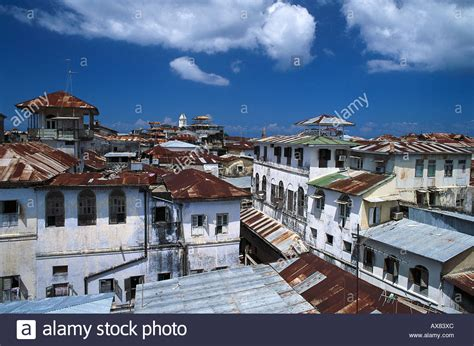 The houses of the Old Town under blue sky, Zanzibar city