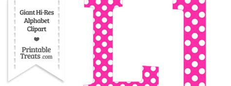 pink polka dot letter l clipart printable treats
