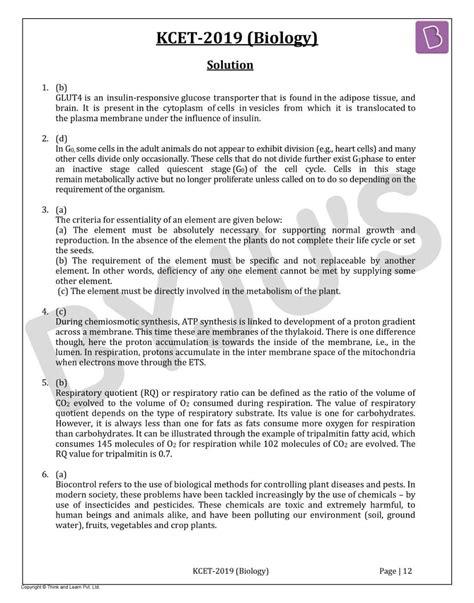 KCET Biology 2019 Solved Paper - Download PDF