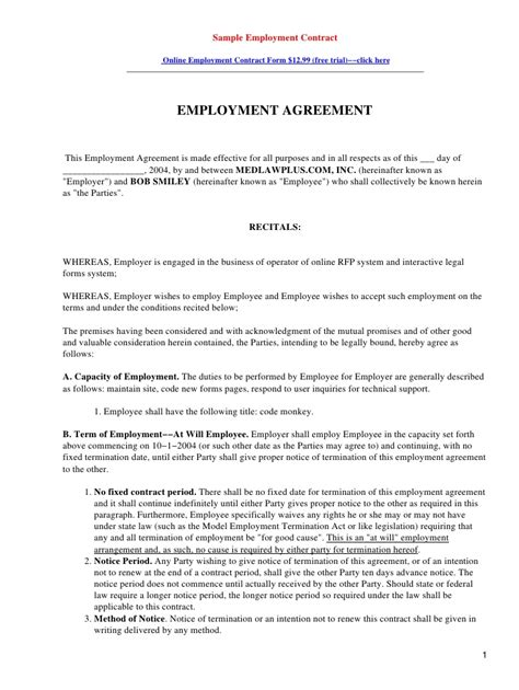 Employment Agreement Letter Exles Sle Employment Contract