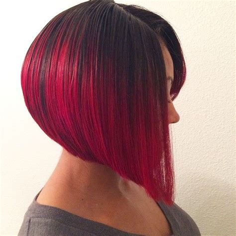 Red Ombre Graduated Bob Short Hair Hairstyle MissyLynn
