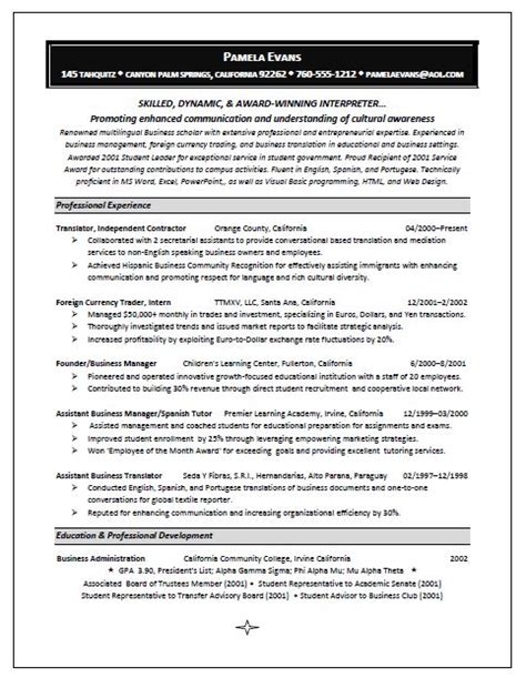 Interpreter Resume Free Sle Freelance Translator Resume Sle