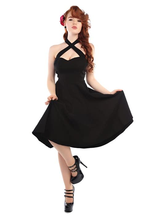 swinging style vintage style amazing black halterneck swing dress