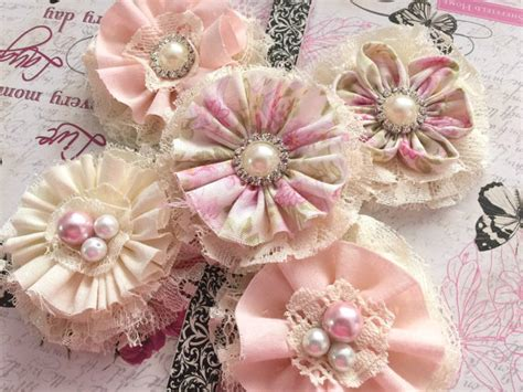 Handmade Material Flowers - shabby chic lace and fabric handmade flowers 2213345