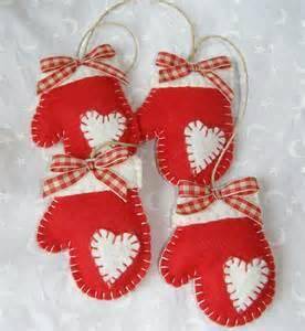 felt mittens handmade christmas ornament by paperbistro on