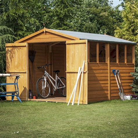 Doors For Garden Sheds by Shire Overlap Garden Shed 10x6 With Doors One Garden