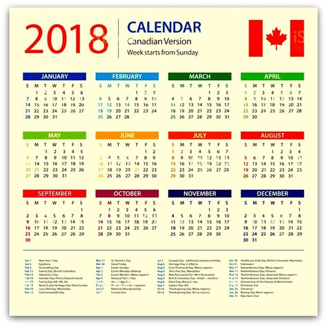 canada 2018 holidays calendar with festivals and events