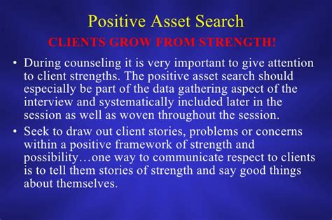 Positive Asset Search In Counseling Intentional Interviewing Summary