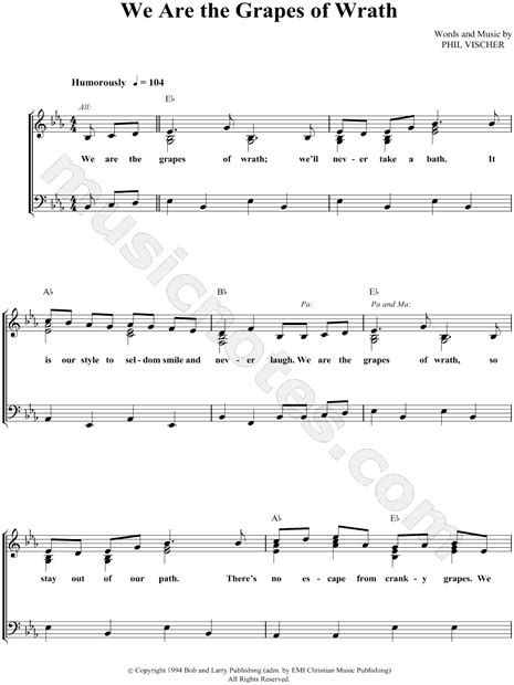 theme song from grapes of wrath veggietales quot we are the grapes of wrath quot sheet music in eb