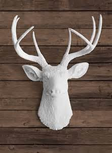 Stag Head Decor Faux White Deer Head With White Antlers Ceramic