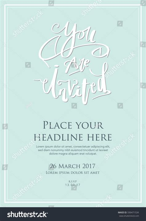you are invited card template invitation card template design you invited stock vector