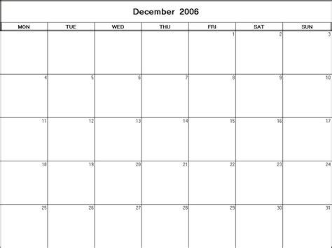 December 2006 Calendar December 2006 Printable Blank Calendar