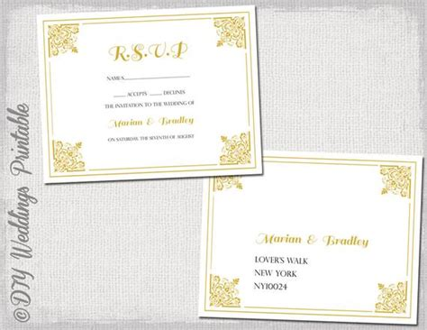 Rsvp Postcard Template Download Diy Gold Classic Free Rsvp Postcard Template