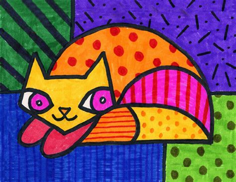 pattern cat art lesson for me art can reflect the celebration by romero britto