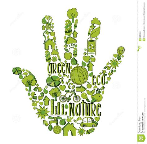 design for environment video green hand with environmental icons stock vector